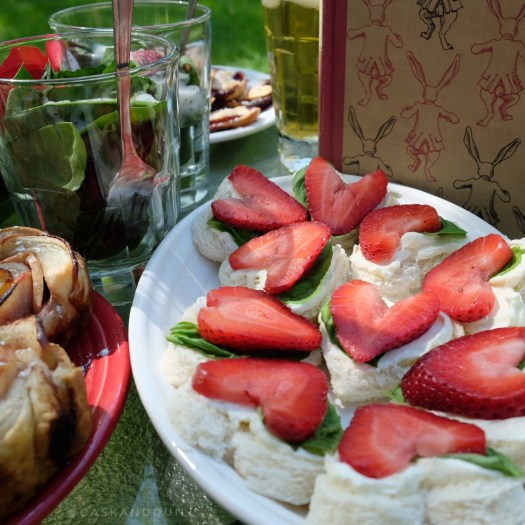 strawberry basil cream cheese tea sandwiches, Alice in Wonderland, Queen of Hearts tea party