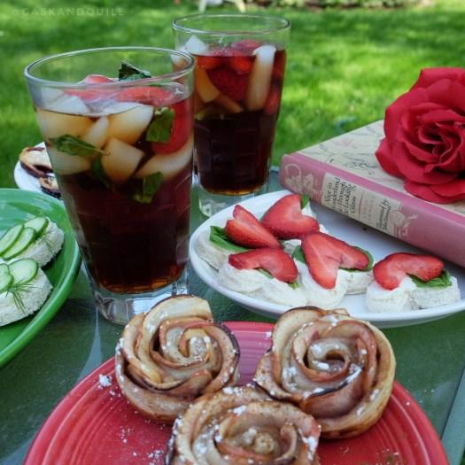 strawberry basil vodka iced tea, Alice in Wonderland, Queen of Hearts tea party