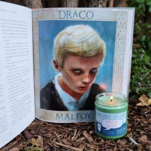 Draco Malfoy, Harry Potter illustrated edition, Ambitious Wizards Slytherin candle from Frostbeard Studio