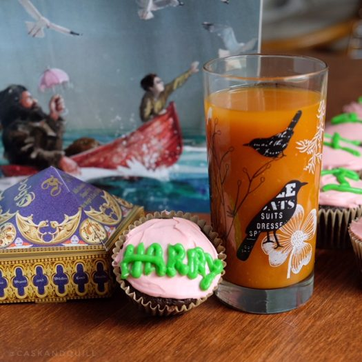 Pumpkin juice and birthday cupcake, Harry Potter