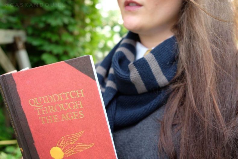 Hogwarts Ravenclaw scarf and Quidditch book
