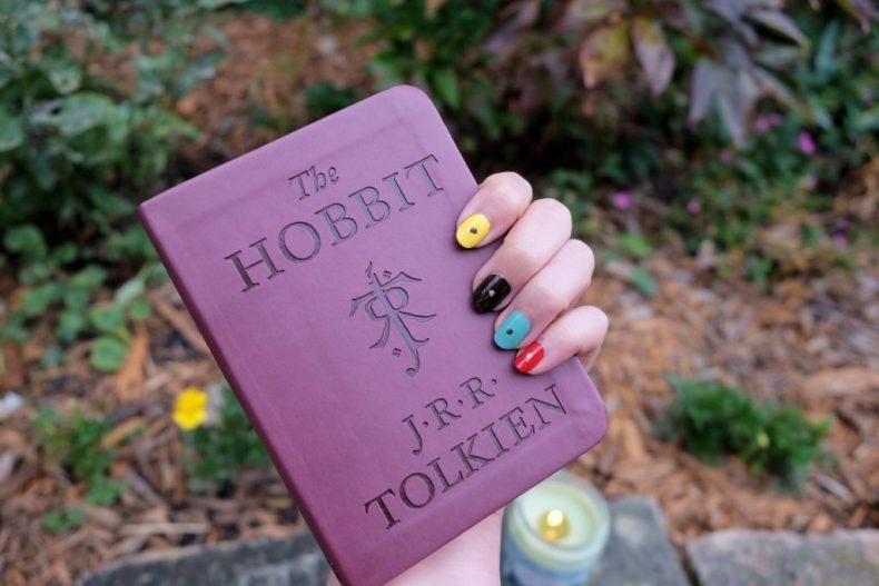 Multicolored hobbit door nail art