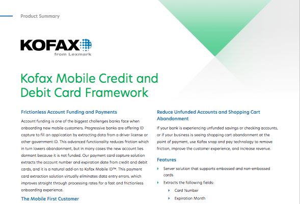 Kofax Mobile Credit and Debit Card Framework