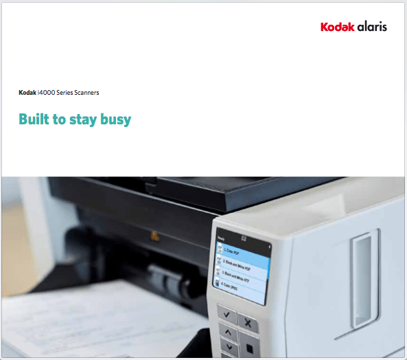 Kodak alaris i4000 Series Scanner Data Sheet