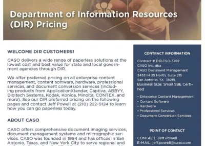 Department of Information Resources (DIR) Pricing Data Sheet