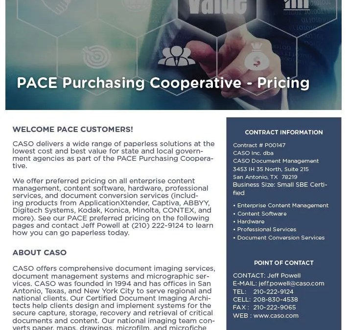 PACE Purchasing Cooperative Pricing Data Sheet