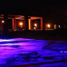 Blick über Lasernebelschwaden in den Kaiserthermen. (© casowi)