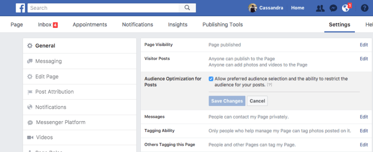 how to enable audience targeting on facebook pages