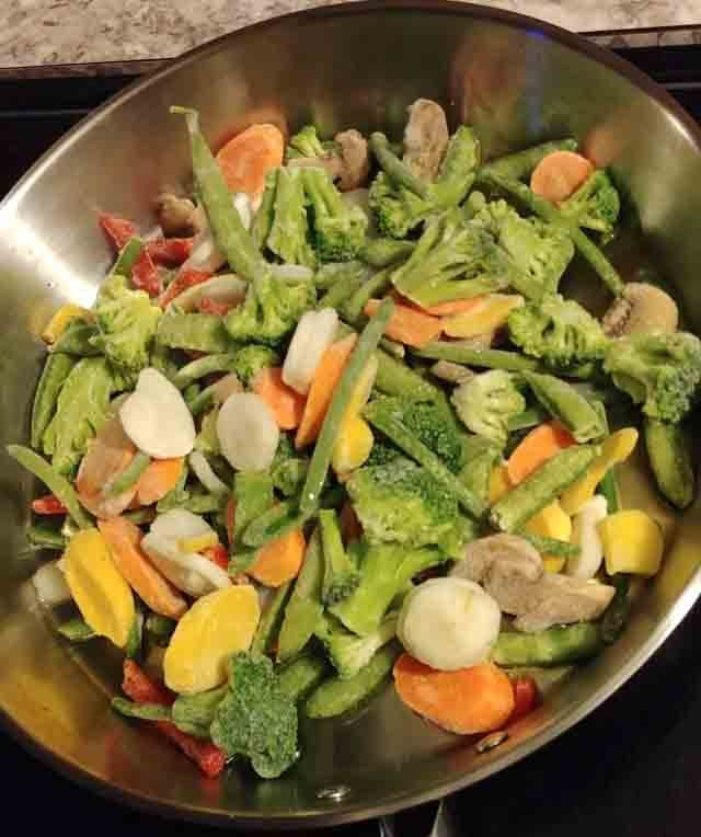 Frozen vegetables for stir fry