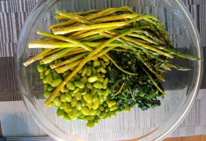 Roasted asparagus, sauteed greens, and edamame