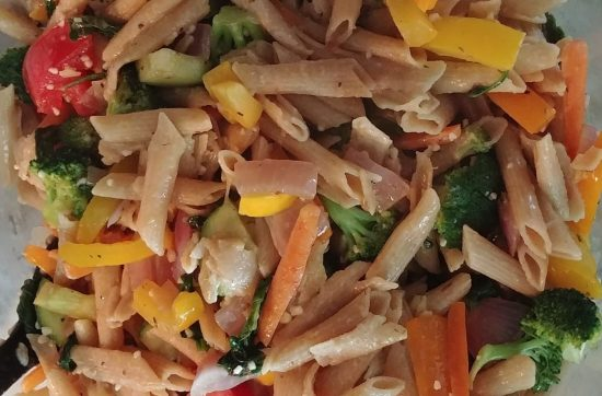 Pasta Primavera with Summer Fresh Vegetables in Bowl
