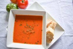 Bowl of Tomato Basil Soup with French Bread