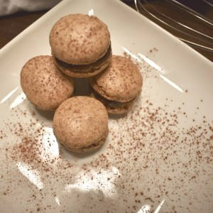 Overview of nut free chocolate macarons with sea salt chocolate ganache filling