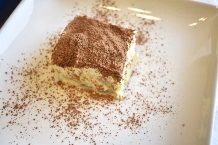 Side view of tiramisu cake