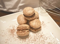 Stack of macarons with sea salt chocolate ganache