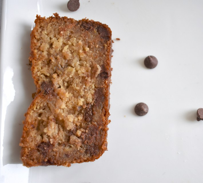 single slice of the best moist chocolate chip banana bread