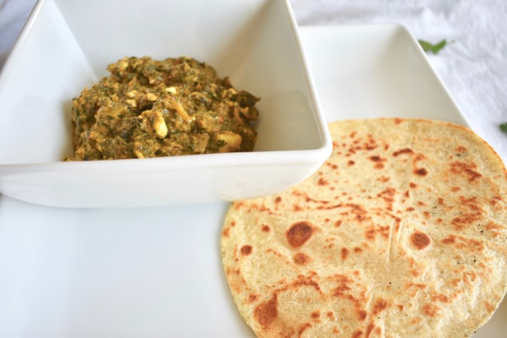 Vegan palak paneer with tofu and spinach