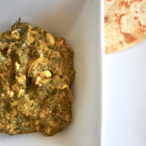 Indian curried spinach and tofu vegan