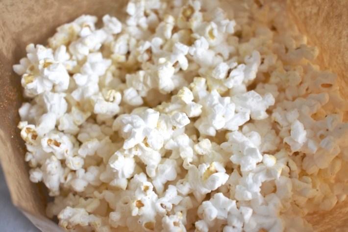 Closeup of homemade microwave popcorn