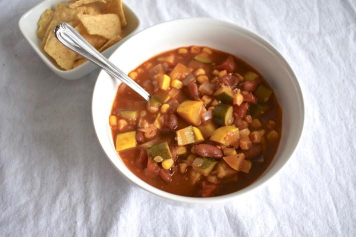 Vegan Tortilla Soup with Summer Squash