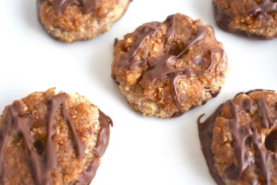 gluten-free copycat samoa cookies; healthy vegan samoa cookies