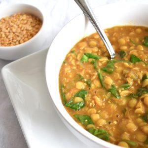 Bowl of Instant Pot Dal Tadka Curried Lentils and Spinach