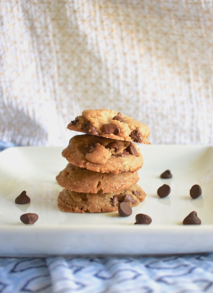 stack of vegan chocolate chip cookies