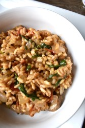 roasted tomato and mushroom risotto