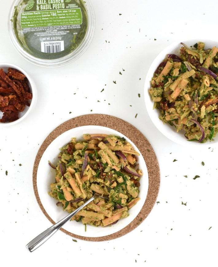 Vegan Gluten-Free Pesto Pasta with Sun-Dried Tomato