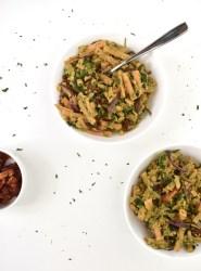 gluten free vegan pesto pasta with vegetables