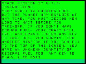 Space Mission, Dragon 32. 1984 Version.