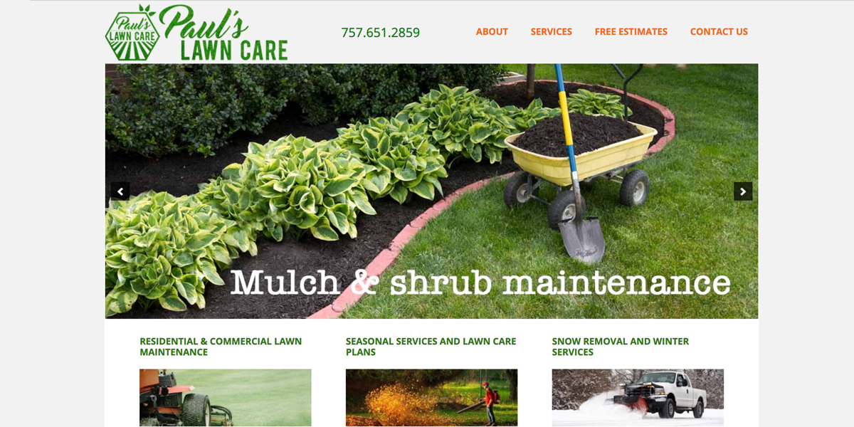 Paul's Lawn Care Site Springs Forward
