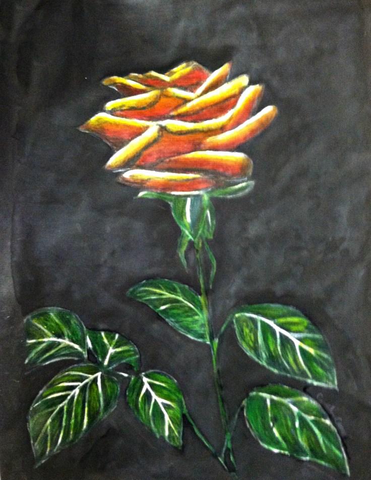 """Mixed Media Watercolor- """"In loving memory"""" Rose"""