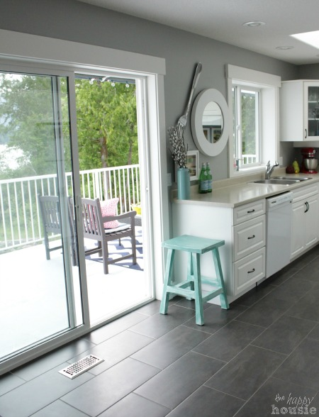 The Happy Housie Home Tour for Primitive and Proper Kitchen out to Deck