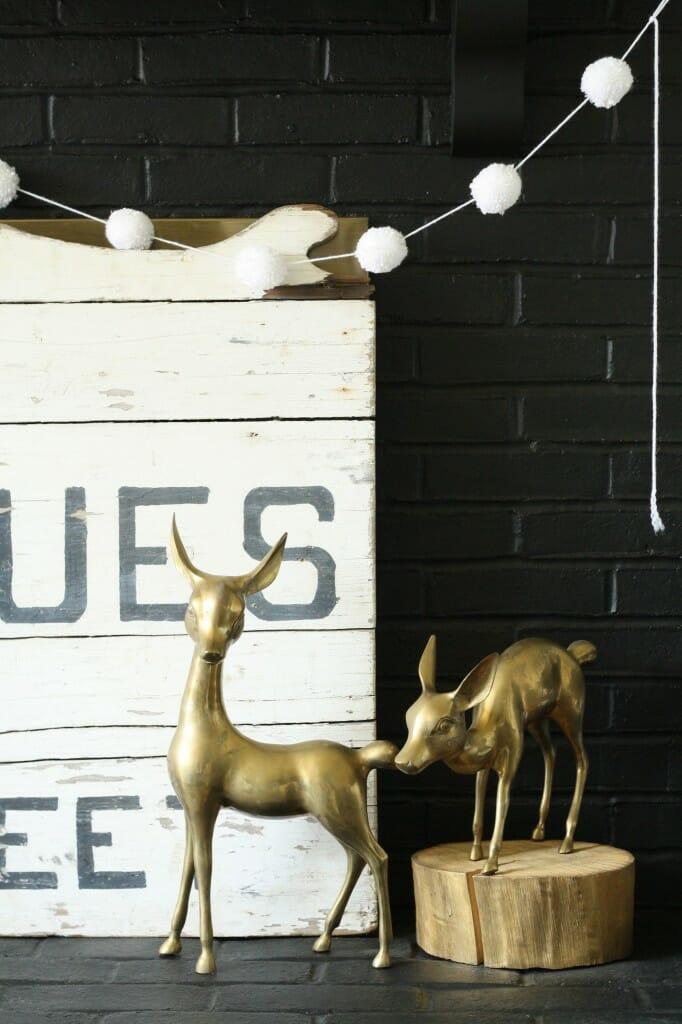 #EclecticallyFall brass deer on hearth