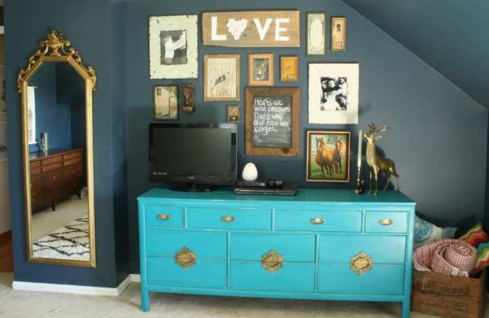 slh lock gallery wall navy, gold, teal