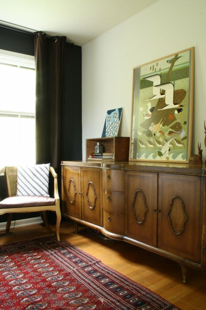 moody bohemian bedroom with awesome midcentury dresser