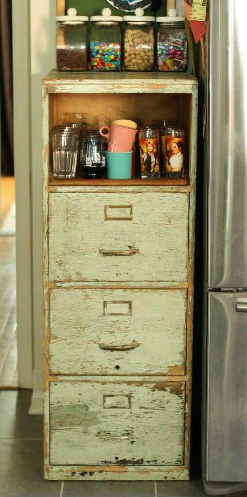 vintage filing cabinet as kitchen storage