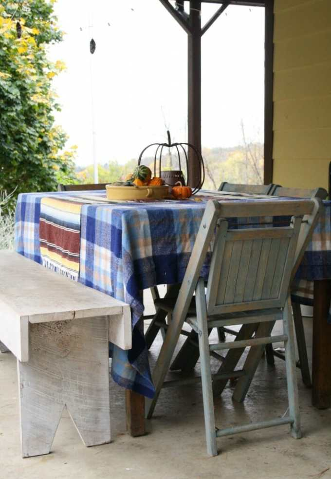 Fall outdoor dining area