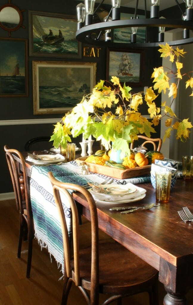 bohemian style thanksgiving table- using a mexican blanket as runner, natural touches