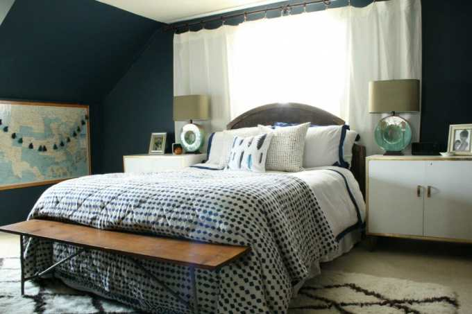 master bedroom with new kenroy lamps