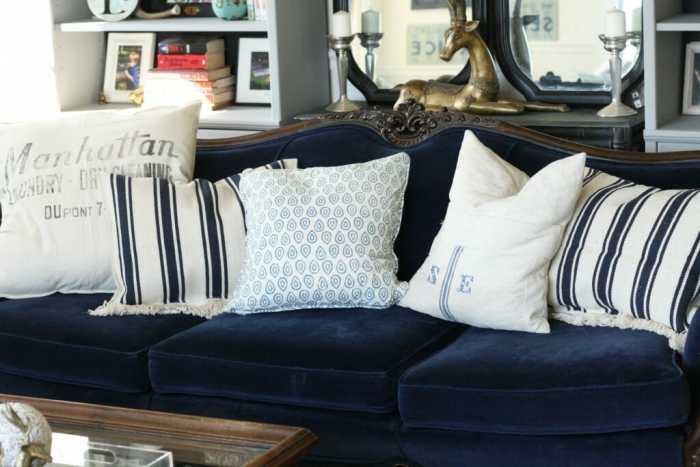 Navy Velvet Sofa with Grain sack pillows