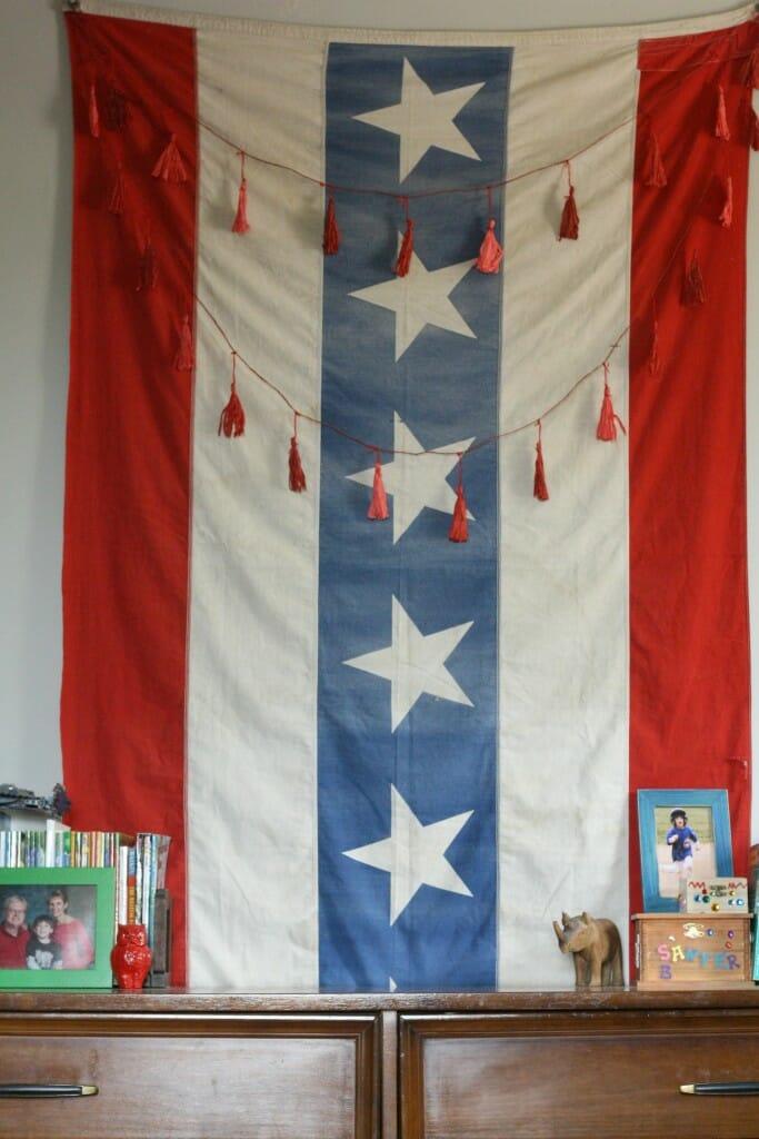 Vintage Flag over dresser