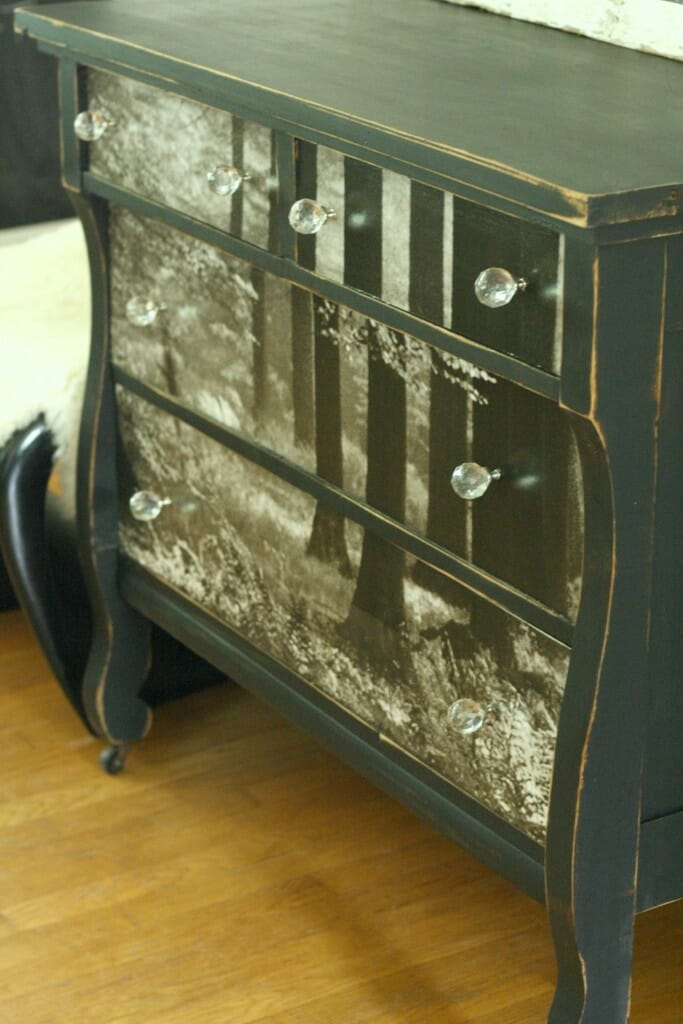 Distressed Black Edges of Wallpaper Dresser
