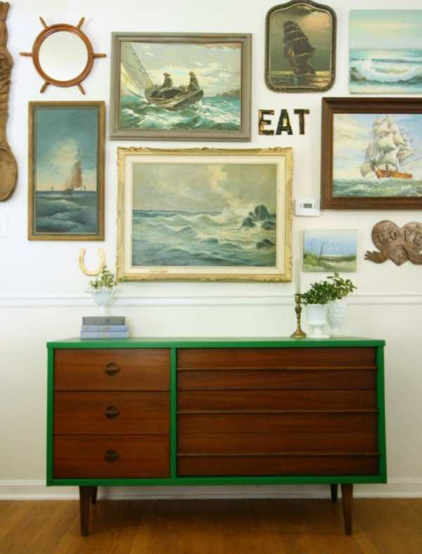 DIY Emerald & Wood Midcentury Dresser
