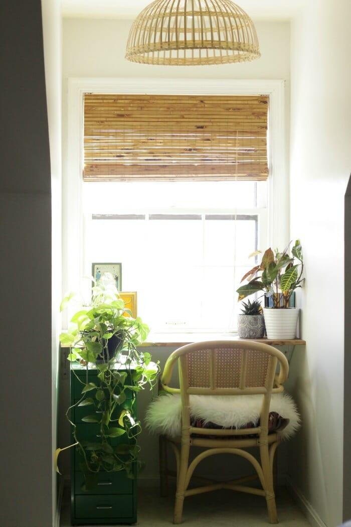 Lovely Custom Bamboo Blinds In Dormer Nook