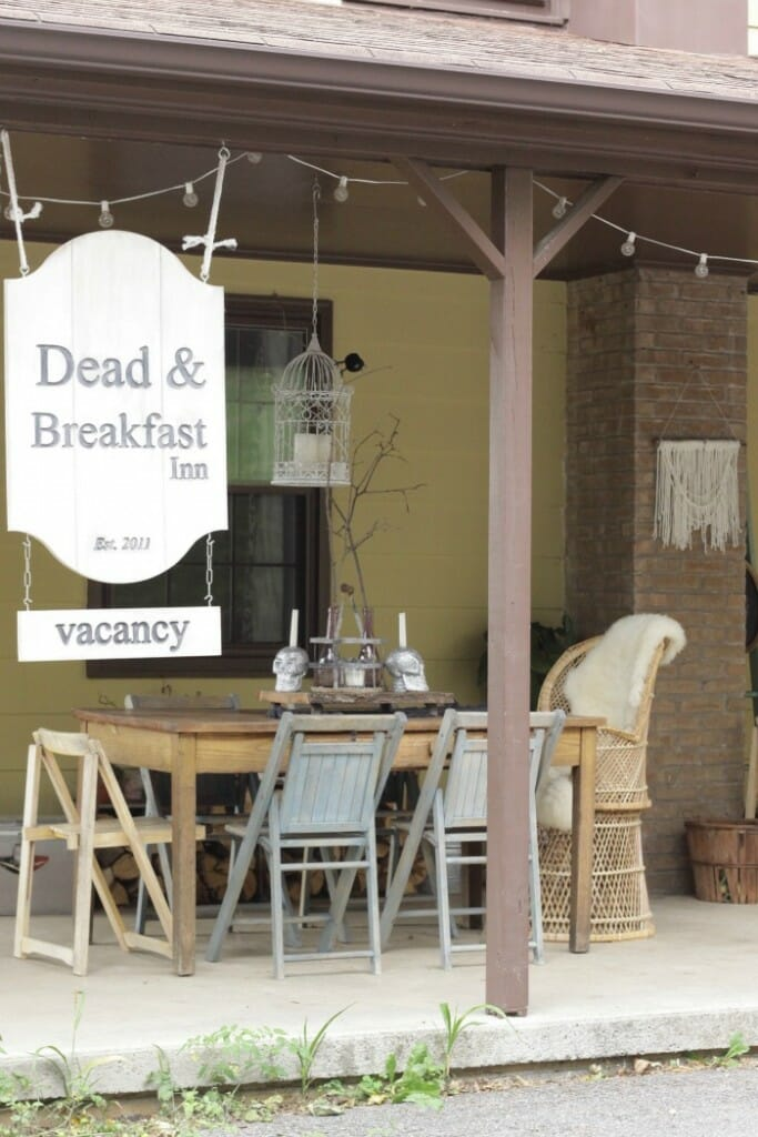 Dead & Breakfast sign on Halloween Porch
