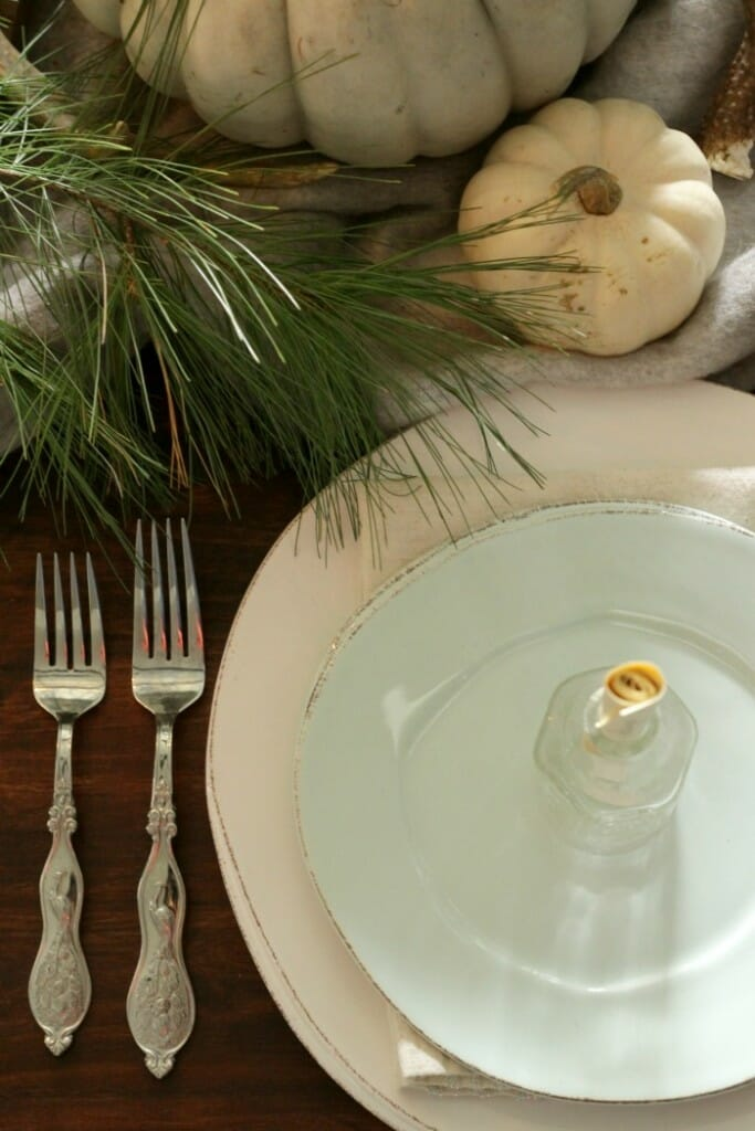 Aqua and White Vietri Dishes- Pine & Pumpkins on Thanksgiving table
