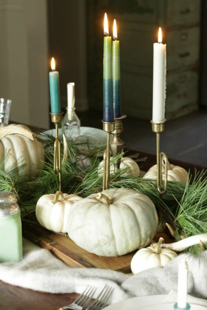 Cutting board, Candlesticks, Pumpkins & Pine as Thanksgiving Centerpiece