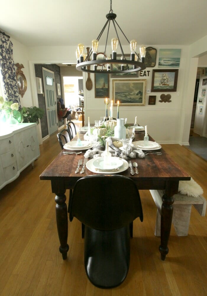 Thanksgiving Table in Blues & Greens with Seascapes